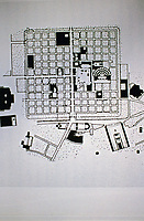 Plan of Timgad, a Roman-Berber city in the Aurès Mountains of Algeria, one of the best examples of the grid plan for roman city layout