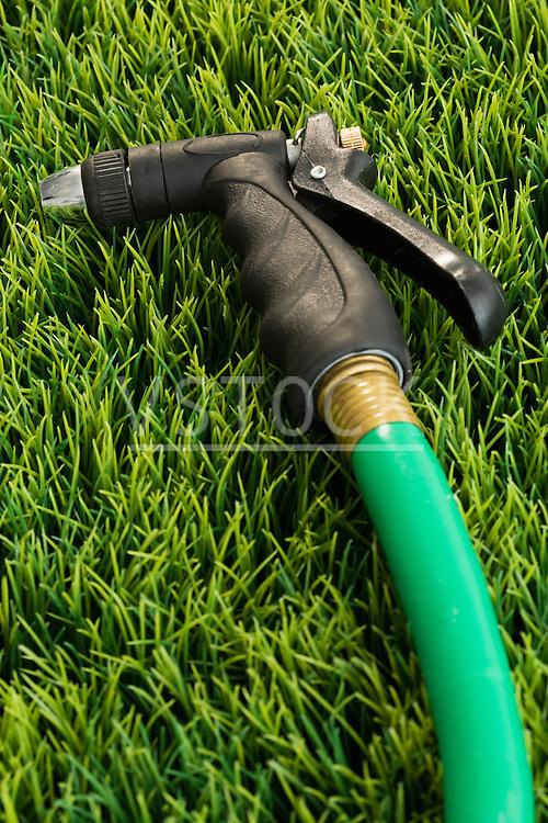 Garden hose on grass