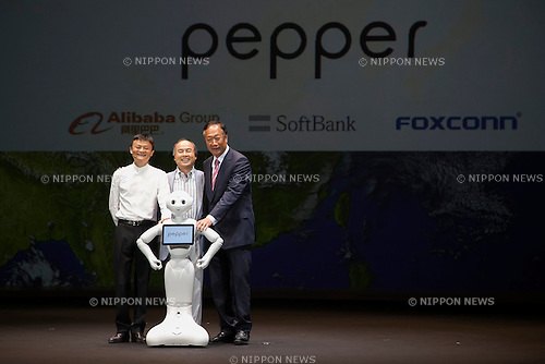 (L to R) Jack Ma executive chairman of Alibaba Group, Masayoshi Son chairman & CEO of SoftBank, robot Pepper and Terry Gou chairman & CEO of FOXCONN pose for the cameras during a press conference to announce that the SoftBank's robot ''Pepper'' can feel as human on June 18, 2015, Tokyo, Japan. Masayoshi Son chairman & CEO of Japanese internet and telecommunications giant SoftBank Corp., announced that its robot Pepper can feel and understand people's emotions and also express itself. Son also said that the first 1000 robots will be on sale to the public for 198,000 JPY (1,604 USD) from Saturday June 20th, and could be available to companies to replace positions such as reception and convenience store staff from the beginning of July. To develop Pepper's skills SoftBank announced an alliance with foreign technology companies FOXCONN and Alibaba Group. (Photo by Rodrigo Reyes Marin/AFLO)