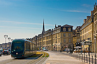 Public transport tram system runs in old Bordeaux, France.