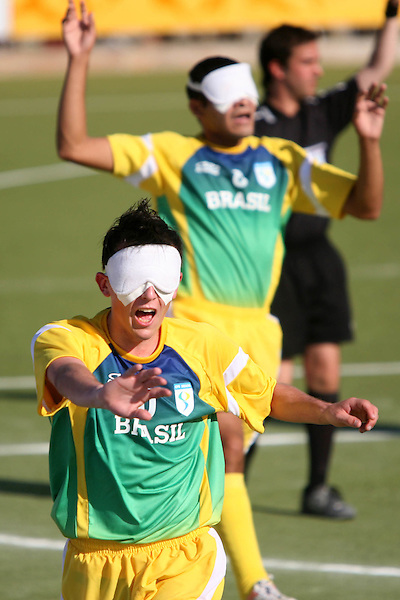 Rio de Janeiro_RJ, Brasil...Atletas disputam futebol de 5 nos jogos Parapan 2007.Na foto o jogador brasileiro,Ricardo Alves(Ricardinho) comemora gol brasileiro...The athletes in Parapan 2007. In this photo the Brazilian soccer player Ricardo Alves (Ricardinho) celebrates Brazilian goal...Foto: MARCUS DESIMONI / NITRO...