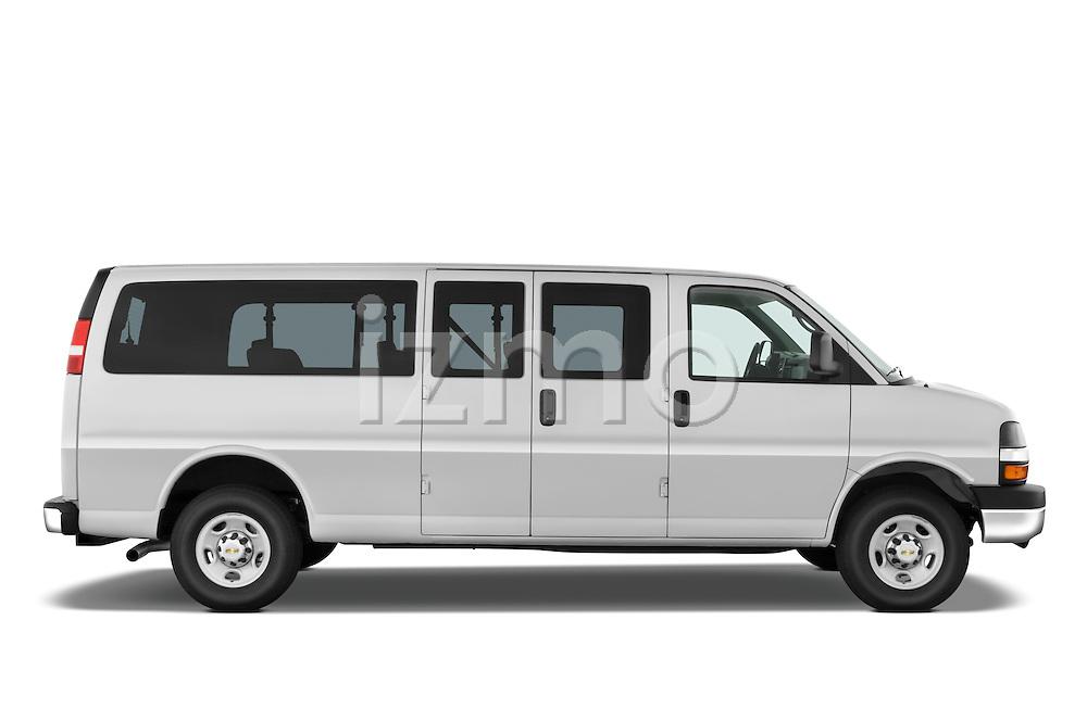 Passenger side profile view of a 2008 Chevrolet Express 3500 Passenger Van.