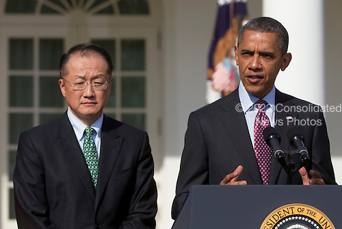 United States President Barack Obama, right, introduces Jim Yong Kim, president of Dartmouth College, as a nominee to become president of the World Bank in the Rose Garden of the White House in Washington, D.C., U.S., on Friday, March 23, 2012. Kim was born in Seoul and is a U.S. citizen. He would succeed Robert Zoellick as the head of the bank. The bank made $57 billion loans in the last fiscal year. .Credit: Andrew Harrer / Pool via CNP