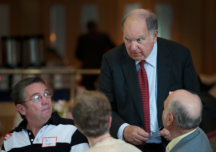 UNITED STATES - AUGUST 25: John Spratt, D-N.C., talks to constituents during a fundraiser at the River Hill Country Club in Lake Wylie South Carolina. (Photo By Douglas Graham/Roll Call via Getty Images)