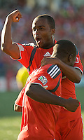 12 September 2009: Toronto FC defender Lesly Fellinga #5 celebrates a goal with Toronto FC forward O'Brian White #17 during MLS action at BMO Field Toronto in a game between Colorado Rapids and Toronto FC. .Toronto FC won 3-2..