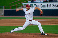 Wisconsin Timber Rattlers pitcher David Lucroy (31) delivers a pitch during a Midwest League game against the Clinton LumberKings on May 9th, 2016 at Fox Cities Stadium in Appleton, Wisconsin.  Clinton defeated Wisconsin 6-3. (Brad Krause/Four Seam Images)