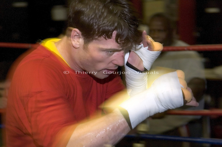 John Duddy in the ring during  a training session at Gleason's Gym in Brooklyn, New York on 05.19.05