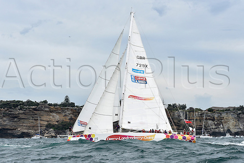 26.12.2015 Sydney, Australia. Rolex Sydney to Hobart Yacht race 2015. The rest of the fleet heads out to sea during the start of the 629 nautical mile race from Sydney to Hobart on Sydney Harbour. Derry-Londonderry-Doire from Great Britain type Clipper 70.