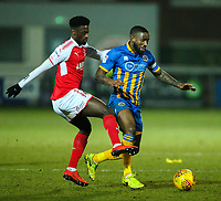Fleetwood Town's Jordy Hiwula vies for possession with Shrewsbury Town's Abu Ogogo<br /> <br /> Photographer Alex Dodd/CameraSport<br /> <br /> The EFL Sky Bet League One - Fleetwood Town v Shrewsbury Town - Tuesday 13th February 2018 - Highbury Stadium - Fleetwood<br /> <br /> World Copyright &copy; 2018 CameraSport. All rights reserved. 43 Linden Ave. Countesthorpe. Leicester. England. LE8 5PG - Tel: +44 (0) 116 277 4147 - admin@camerasport.com - www.camerasport.com