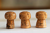 Domaine Jean Louis Denois. Limoux. Languedoc. Corks for sparkling Limoux wine showing how the shape changes with age: straight mushroom like to the left, broader base on a young cork to the right. France. Europe.