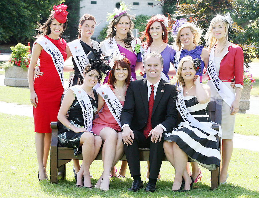 17/8/2010. 2010 Rose of Tralee visit RTE. Dáithí O Sé is pictured with the Irish Roses L-R BACK ROW. Carlow Rose Jessica Adamson, Belfast Frances Rafferty, Tipperary Lynda Kelly, Litrim Martha Gilheaney, Down Gemma Murphy, Kerry Veronica Hunt. FRONT L-R Laois Dublin Rose Niamh Sherlock and The Cork Rose Laura Mitchell at the RTÉ studios in Donnybrook Dublin. The Rose of Tralee International Festival, which runs from Friday 20th to Tuesday 24th of August, culminates in the live televised International Rose Selection on RTÉ One, hosted for the first time by Dáithí O Sé. The show will be broadcast from 8pm on Monday and Tuesday the 23rd and 24th of August, with a break for the Nine O' Clock News on both nights. The show will also be streamed live around the world at www.rte.ie. Picture James Horan/Collins Photos