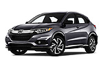 Stock pictures of low aggressive front three quarter view of a 2019 Honda HR-V Sport 5 Door SUV