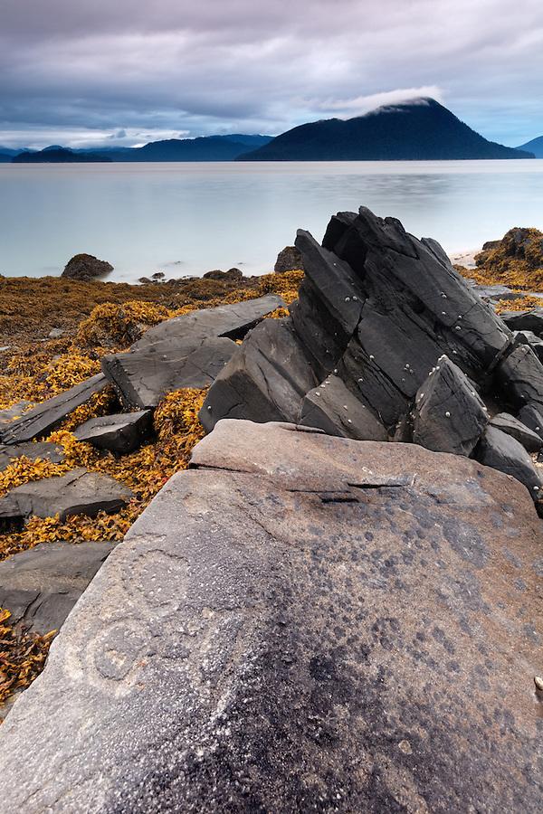 Petroglyph rock art at Petroglyph Beach State Historic Park, Wrangell, Alaska