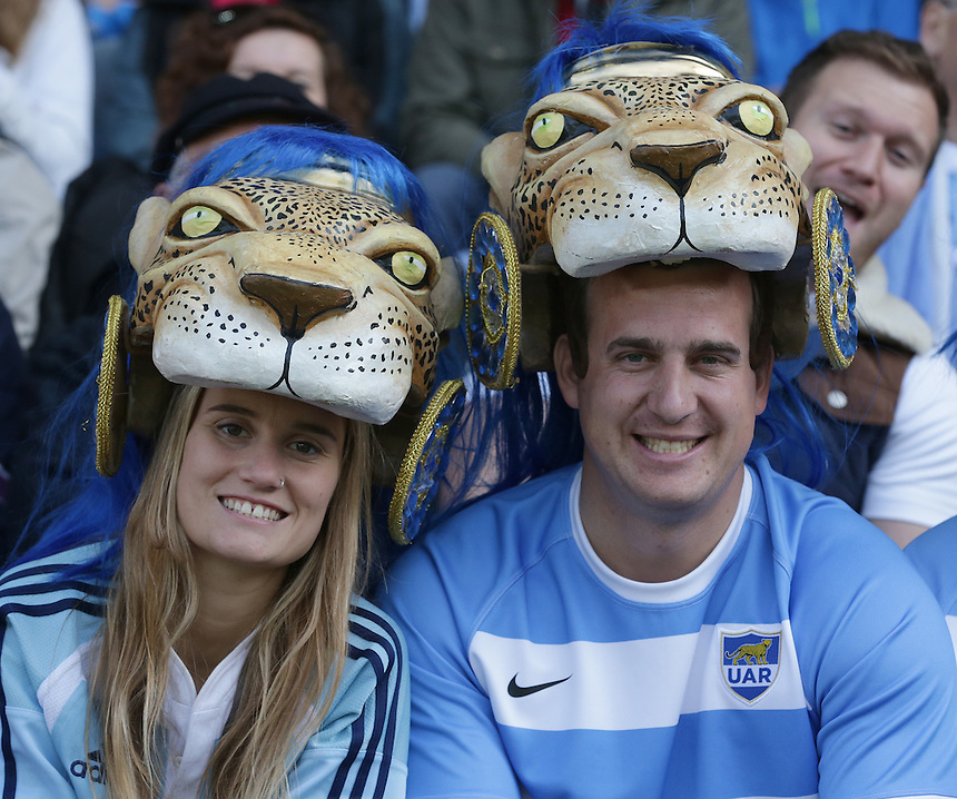 Argentina fans before the kick off<br /> <br /> Photographer Stephen White/CameraSport<br /> <br /> Rugby Union - 2015 Rugby World Cup Pool C - Argentina v Tonga - Sunday 4th October 2015 - King Power Stadium - Leicester <br /> <br /> &copy; CameraSport - 43 Linden Ave. Countesthorpe. Leicester. England. LE8 5PG - Tel: +44 (0) 116 277 4147 - admin@camerasport.com - www.camerasport.com