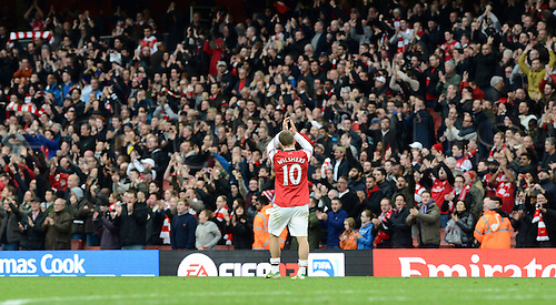 17.11.2012 London, England. Jack Wilshere Of Arsenal  celebrates after beating Tottenham 5-2 in the Premier League game between Arsenal and Tottenham Hotspur from the Emirates Stadium...