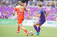 Orlando, FL - Saturday June 24, 2017: Janine Beckie, Steph Catley during a regular season National Women's Soccer League (NWSL) match between the Orlando Pride and the Houston Dash at Orlando City Stadium.