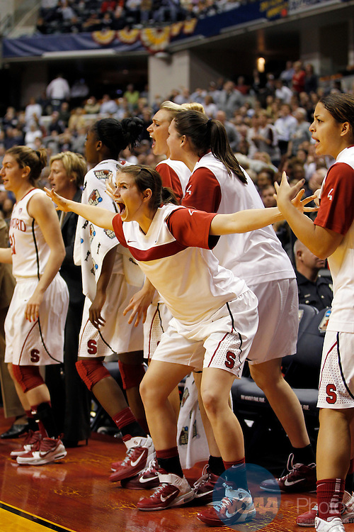 03 APR 2011:  Hannah Donaghe (20) of Stanford University reacts to the Cardinals final basket against Texas A&M University during the Division I Women's Basketball Semifinals held at Conseco Fieldhouse in Indianapolis, IN.  Texas A&M defeated Stanford 63-62 to advance to the national title game.  Jamie Schwaberow/NCAA Photos