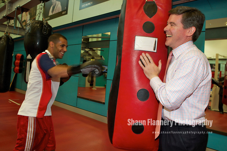 Pix: Shaun Flannery/shaunflanneryphotography.com...COPYRIGHT PICTURE>>SHAUN FLANNERY>01302-570814>>07778315553>>..20th July 2010.......GB Boxing, The English Institute of Sport, Sheffield (EIS Sheffield)..Visit of the Sports Minister Hugh Robertson..The Minister 'spars' with Khalid Yafai.