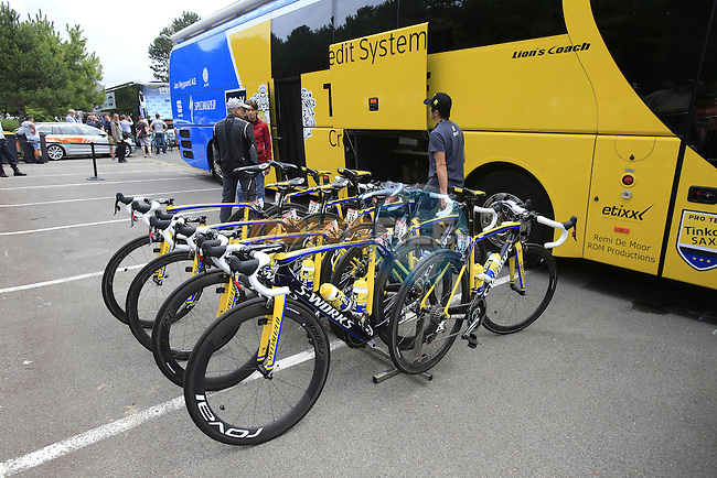 Tinkoff-Saxo team bikes lined up outside the team bus in Le Touquet for the start of Stage 4 of the 2014 Tour de France running 163.5km from Le Touquet to Lille. 8th July 2014.<br /> Picture: Eoin Clarke www.newsfile.ie