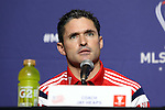 05 December 2014: New England Revolution head coach Jay Heaps. Major League Soccer held a press conference at the StubHub Center in Carson, California two days before the Los Angeles Galaxy hosted the New England Revolution in MLS Cup 2014.