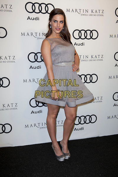 Jessica Lowndes.Audi And Martin Katz Kick Off Golden Globes Week 2012 Held At Cecconi's Restaurant, West Hollywood, California, USA..January 8th, 2012.full length grey gray dress silver clutch shoes bag purple lilac sleeveless hand on hip.CAP/ADM/ES.©Emiley Schweich/AdMedia/Capital Pictures.