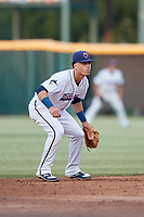 Jacksonville Jumbo Shrimp shortstop Bryson Brigman (6) during a Southern League game against the Mobile BayBears on May 28, 2019 at Baseball Grounds of Jacksonville in Jacksonville, Florida.  Mobile defeated Jacksonville 2-1.  (Mike Janes/Four Seam Images)