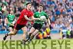 Gavin O'Grady Glenbeigh Glencar in action against Liam Nugent Rock Saint Patricks in the Junior Football All Ireland Final in Croke Park on Sunday.