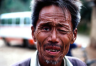 September, 1985. Shaanxi Province, China. A Mao veteran in the streets of Yan'an.