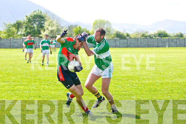 In action Beale's Jake O'Connell and  Na Gaeil's Kieran Dineen in the Senior Football League Div 4 Na Gaeil v Beale at Killeen (Na Gaeil) on Sunday - Na Gaeil 1-14  -v-  1-11 Beale