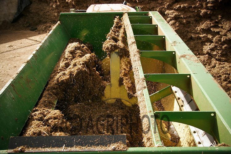 Silage being mixed in a feeder wagon