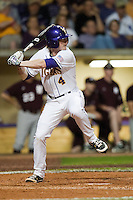 LSU Tigers outfielder Raph Rymes #4 at bat against the Mississippi State Bulldogs during the NCAA baseball game on March 16, 2012 at Alex Box Stadium in Baton Rouge, Louisiana. LSU defeated Mississippi State 3-2 in 10 innings. (Andrew Woolley / Four Seam Images)