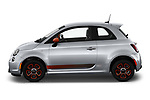 Car Driver side profile view of a 2019 Fiat 500e Battery-Electric 3 Door Hatchback Side View