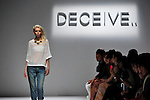 October 18, 2012, Tokyo, Japan - A model poses on the catwalk wearing ''DECEIVE..'' during Mercedes-Benz Fashion Week Tokyo 2013 Spring/Summer. The Mercedes-Benz Fashion Week Tokyo runs from October 13-20. (Photo by Yumeto Yamazaki/AFLO)