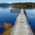Jetty at Lake Mahinapua, West Coast, New Zealand