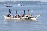 Canoe Journey, Paddle to Nisqually, 2016, Tana Stobs Canoe Family arriving in Olympia, Washington, 7-30-2016, Salish Sea, Puget Sound, Washington State, USA,