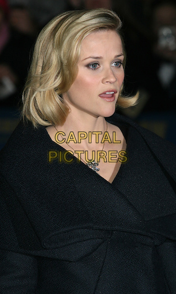 """REESE WITHERSPOON.promotes her new movie """"Four Christmases"""" on the """"Late Show with David Letterman"""" at the Ed Sullivan Theater, New York City, NY, USA,.portrait headshot black grey gray coat collar folded lapels bob bobbed hair profile necklace .CAP/LNC/TOM.©LNC/Capital Pictures"""