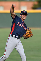 Shortstop AJ Graffanino (16) of the Rome Braves warms up before a game against the Greenville Drive on Wednesday, July 11, 2018, at Fluor Field at the West End in Greenville, South Carolina. He is the Atlanta Braves' 2018 eighth-round draft pick. (Tom Priddy/Four Seam Images)