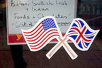 British and American flags displayed on Corey Avenue.  St. Pete Beach Tampa Bay Area Florida USA