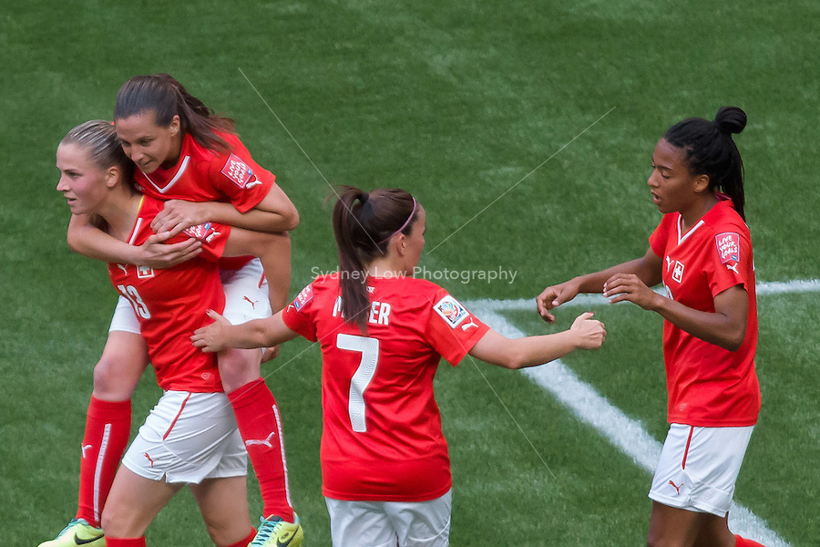 June 12, 2015: Eseosa AIGBOGUN of Switzerland celebrates her goal during a Group C match at the FIFA Women's World Cup Canada 2015 between Switzerland and Ecuador at BC Place Stadium on 12 June 2015 in Vancouver, Canada. Switzerland won 10-1. Sydney Low/AsteriskImages