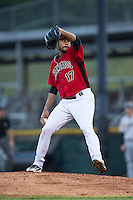 Hickory Crawdads starting pitcher Pedro Payano (17) in action against the Charleston RiverDogs at L.P. Frans Stadium on August 25, 2015 in Hickory, North Carolina.  The Crawdads defeated the RiverDogs 7-4.  (Brian Westerholt/Four Seam Images)