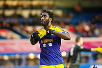 Saturday 25 January 2014<br /> Pictured: Wilfried Bony Celebrates <br /> Re: Birmingham City v Swansea City FA Cup fourth round match at St. Andrew's Birimingham