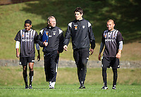 From left: Roy Krishna, coach Ricki Herbert, Reece Crowther and Luis Corrales during the Wellington Phoenix A-League football training session Training Session at Newtown Park, Wellington, New Zealand on Monday, 4 May 2009. Photo: Dave Lintott / lintottphoto.co.nz