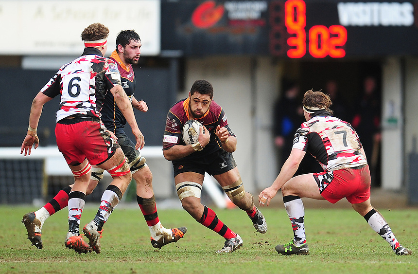 Dragons' Taulupe Faletau in action during todays match<br /> <br /> Photographer Kevin Barnes/CameraSport<br /> <br /> Rugby Union - Guinness PRO12 Round 18 - Newport Gwent Dragons v Edinburgh Rugby - Sunday 27th March 2016 - Rodney Parade - Newport<br /> <br /> &copy; CameraSport - 43 Linden Ave. Countesthorpe. Leicester. England. LE8 5PG - Tel: +44 (0) 116 277 4147 - admin@camerasport.com - www.camerasport.com