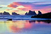 Low tide and sunset reflection at Bandon, Oregon