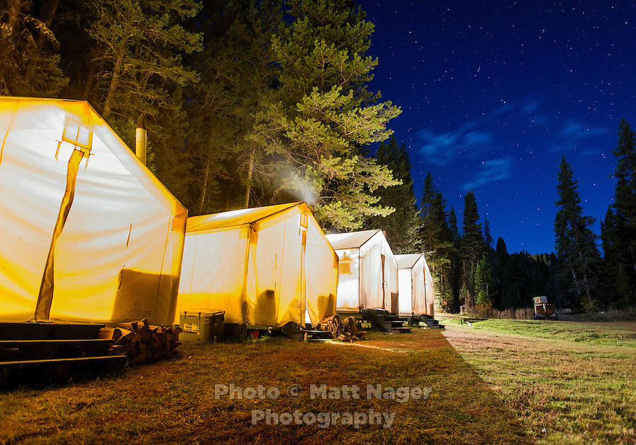 Base camp and tents at Trefren Outfitters on Greyback Ridge in the Hoeback Drainage of Wyoming Region H, outside of Alpine, Wyoming, September 23, 2015.<br /> <br /> Photo by Matt Nager