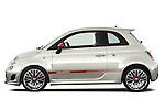 Driver side profile view of a 2009 Fiat 500 Abarth 3 door hatchback
