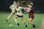 Bayley Feist (9) of the Wake Forest Demon Deacons keeps the ball away from Savannah McCaskill (7) of the South Carolina Gamecocks during first half action at Spry Soccer Stadium on August 24, 2017 in Winston-Salem, North Carolina.  The Demon Deacons defeated the Gamecocks 3-2.  (Brian Westerholt/Sports On Film)