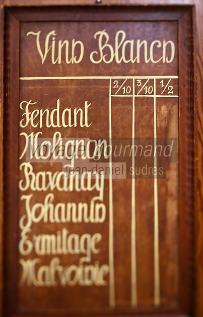 Europe/Suisse/Valais/Champéry: Restaurant: Le Nord, Carte des Vins Blancs