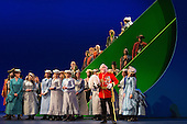 """London, UK. 7 May 2015. Dress rehearsal of the Gilbert and Sullivan comic opera """"The Pirates of Penzance"""" at the London Coliseum. Award winning director Mike Leigh makes his operatic directing debut with The Pirates of Penzance. The ENO production opens at the London Coliseum on 9 May 2015 and runs for 14 productions until 27 June 2015. The English National Opera production is conducted by David Parry. Cast: Andrew Shore as Major-General Stanley, Joshua Bloom as The Pirate King, Alexander Robin Baker as Samuel, Robert Murray as Frederic, the Pirate Apprentice, Jonathan Lemalu as Sergeant of the Police, Claudia Boyle as Mabel, Soraya Mafi as Edith, Angharad Lyddon as Kate, Lydia Marchione as Isabel and Rebecca de Pont Davies as Ruth. Photo: Bettina Strenske"""