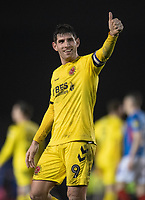 Fleetwood Town's Ched Evans applauds the fans at the final whistle <br /> <br /> Photographer David Horton/CameraSport<br /> <br /> The EFL Sky Bet League One - Portsmouth v Fleetwood Town - Tuesday 10th March 2020 - Fratton Park - Portsmouth<br /> <br /> World Copyright © 2020 CameraSport. All rights reserved. 43 Linden Ave. Countesthorpe. Leicester. England. LE8 5PG - Tel: +44 (0) 116 277 4147 - admin@camerasport.com - www.camerasport.com
